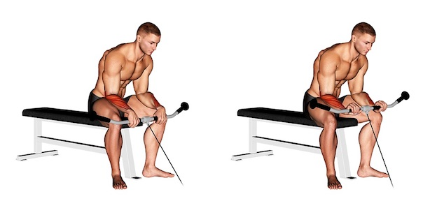 Unterarmmuskeln trainieren: Foto von der Übung Unterarm Curls Kabelzug Obergriff.