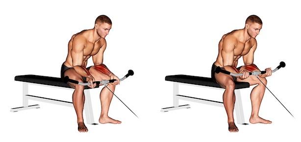 Unterarmmuskeln trainieren: Foto von der Übung Unterarm Curls Kabelzug Untergriff.