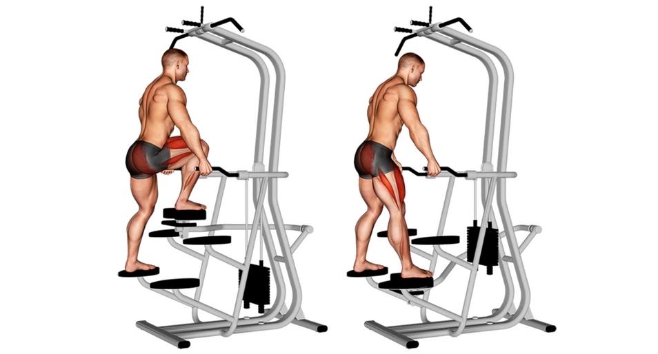Foto von der Übung vertikale Beinpresse einbeinig stehend.
