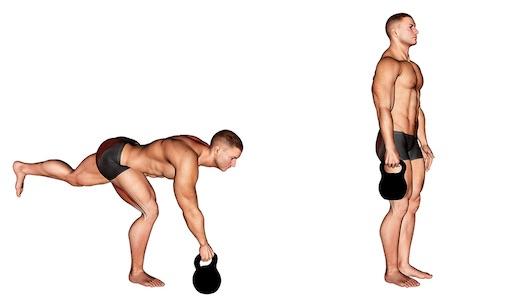 Foto von der Übung einbeiniges Kreuzheben Kettlebell.