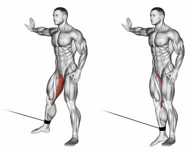 Oberschenkelinnenseite trainieren: Foto von der Übung Adduktorenmaschine am Kabelzug.