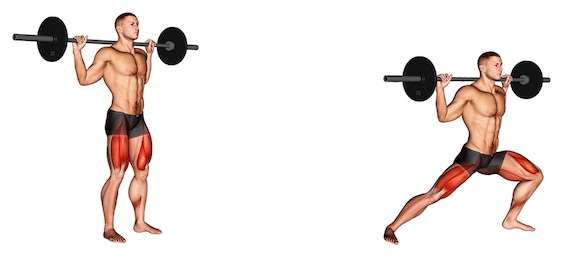 Oberschenkelinnenseite trainieren: Foto von der Übung seitlicher Ausfallschritt Langhantel.