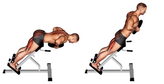 Foto von der Kreuzheben Alterantive Rückenstrecken mit Zusatzgewicht.