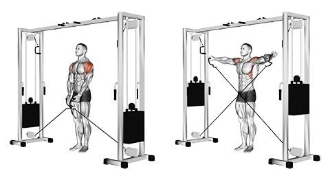 Schulterübungen Kabelzug: Foto von der Übung Seitheben am Kabelzug stehend.