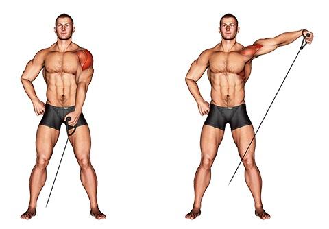 Schulterübungen Kabelzug: Foto von der Übung Seitheben Kabelzug einarmig stehend.