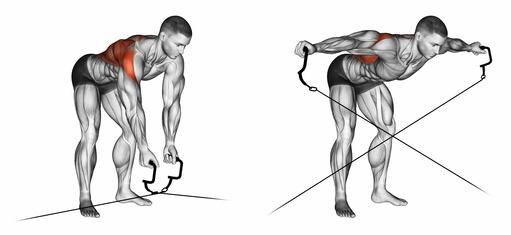 Schulterübungen Kabelzug: Foto von der Übung Vorgebeugtes Seitheben Kabelzug stehend.