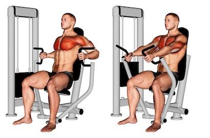 Foto von der Übung Brustpresse Maschine enger Griff.