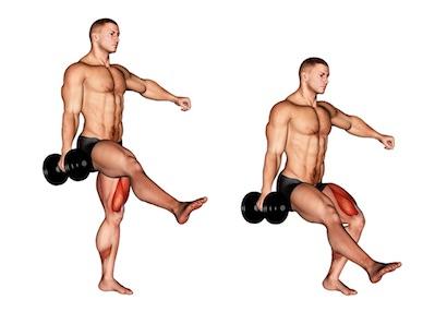 Foto von der Übung Einbeinige KniebeugenKurzhantel.