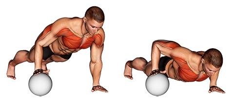 Trizeps Liegestütze: Foto von der Übung EinarmigeLiegestütze mit Ball.