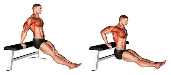 Trizeps Übungen ohne Geräte: Foto von der Übung Arnold Dips Anfänger.