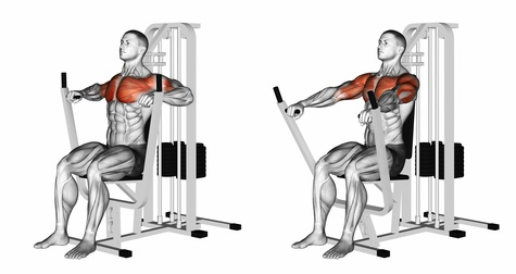 Brusttraining Übungen: Foto von der Übung Brustpresse sitzend.