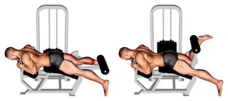 Hintere Oberschenkelmuskulatur: Foto von der Übung einbeinige Beinbizeps Maschine liegend.