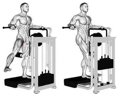 Innenschenkel trainieren: Foto von der ÜbungAdduktorenmaschine stehend.
