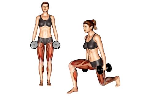 Innenschenkel trainieren: Foto von der ÜbungSeitliche Ausfallschritte mitKurzhanteln.