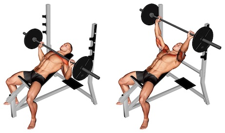 Bankdrücken Muskeln: Foto von der ÜbungSchrägbankdrücken mitLanghantel.