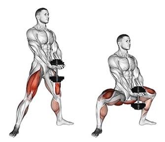 Quadriceps Übungen: Foto von der ÜbungSumoKniebeuge mitKurzhantel.