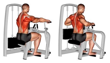 Rudern Muskeln: Foto von der Übung Rudern Maschine Obergriff.