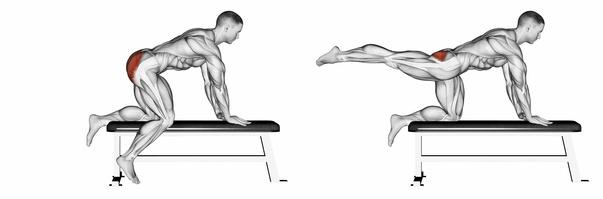 Gesäßmuskeltraining: Foto von der ÜbungGestrecktes Beinheben.