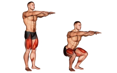 Oberschenkel trainieren zu Hause: Foto von der Übung Kniebeugen.