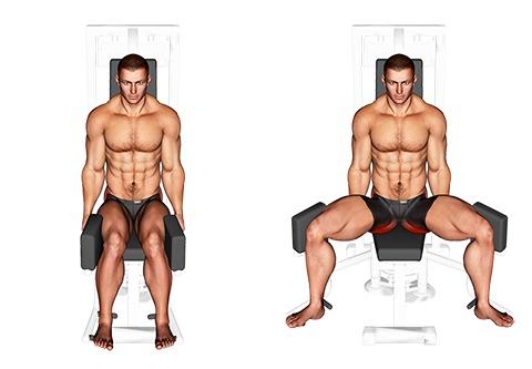Oberschenkel Training Mann: Foto von der ÜbungAbduktoren Gerät.