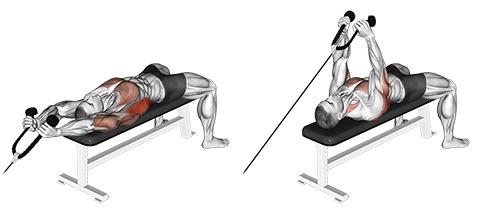 Sägezahnmuskel trainieren: Foto von der Übung Überzüge am Kabelzug.