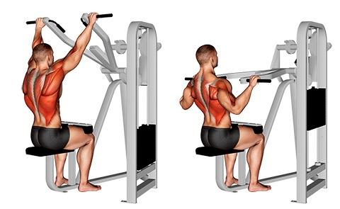 Latzug Rücken:Foto von der Übung Latzug MaschineObergriff.