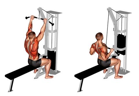 Latzug Übungen: Foto von der Übung Latzug zur Brust.