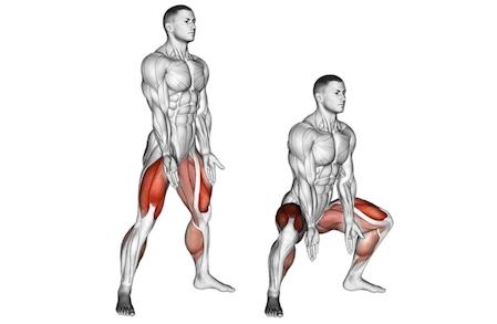 Beinmuskeln trainieren ohne Geräte: Foto von der Übung Kniebeugen breit.