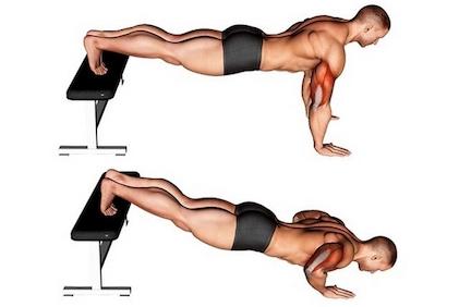 Brust trainieren ohne Geräte: Foto von der Übung Breite negative Liegestütze.