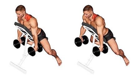 Nacken Übungen Fitness:Foto von der Übung NackenziehenKurzhantelBrustlehne.