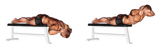 Foto von der Übung Rückenheben liegend Bank.