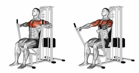 Brustübungen Fitnessstudio: Foto von der Übung Bankdrücken Maschine breit.