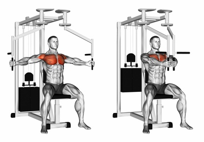 Brustübungen Fitnessstudio: Foto von der Übung ButterflyMaschine.