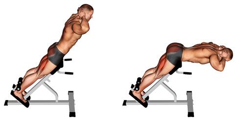 Hyperextension: Foto von der Übung Hyperextensions Gerät ohne Gewicht.
