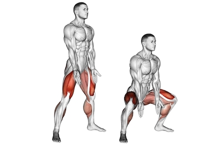 Muskeln aufbauen ohne Geräte: Foto von der Übung BreiteKniebeugen.