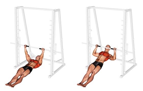 Oberer Rücken Übungen ohne Geräte: Foto von der Übung Rudern unterm Tisch.