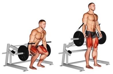 Übungen unterer Rücken im Stehen: Foto von der Übung Kreuzheben am Gerätklassisch.