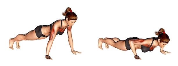 Brustmuskeln trainieren Frau: Foto von der Übung Liegestützen.