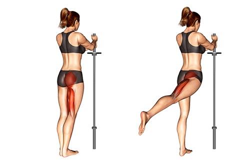 Bauch Beine Po Trainingsplan PDF: Foto von der Übung Beinheben hinten.