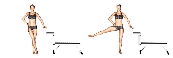 Bauch Beine Po Trainingsplan PDF: Foto von der Übung Beinheben zur Seite.