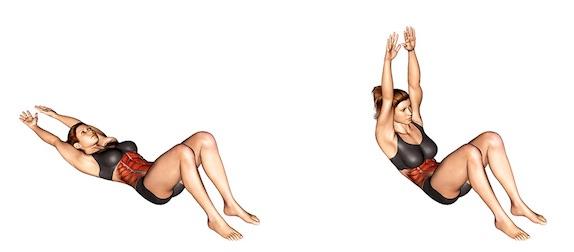 Bauch Beine Po Übungen PDF:Foto von der Übung Crunches gestreckte Arme.