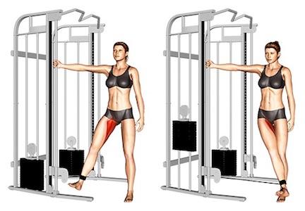 Innere Oberschenkel Übungen:Foto von der Übung AdduktorenKabelzugMaschine.