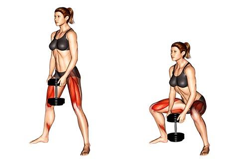Muskeltraining Frauen: Foto von der Übung Breite Kniebeuge mit Kurzhantel.