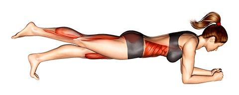 Foto von der Übung Plank Übung Bein hoch.