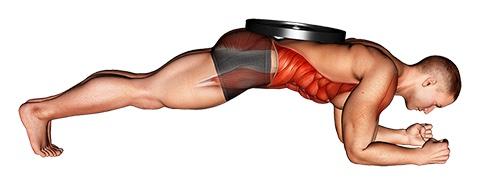 Foto von der Übung Plank Übung mit Gewicht.