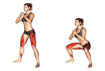 Bauch Beine Po Übungen für zuhause ohne Geräte:Foto von der Übung Sumo Kniebeuge.