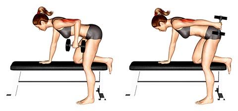 Trizeps Übungen Frauen: Foto von der Übung Trizeps Kickbacks einarmig.