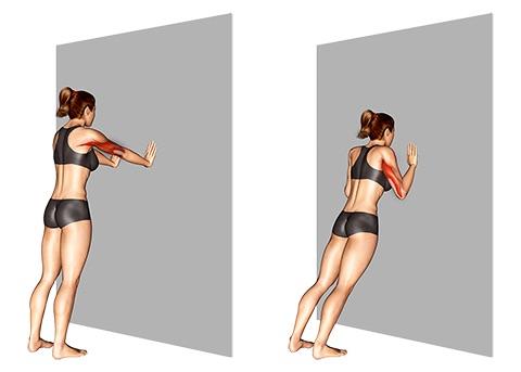Trizeps Übungen Frauen: Foto von der Übung Wandliegestütze eng.
