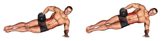 Bauchübungen mit Hanteln: Foto von der Übung Seitlicher Unterarmstütz.