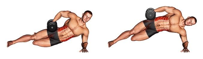 Bauchübungen mit Hanteln: Foto von der Übung Seitlicher Unterarmstütz kniend.